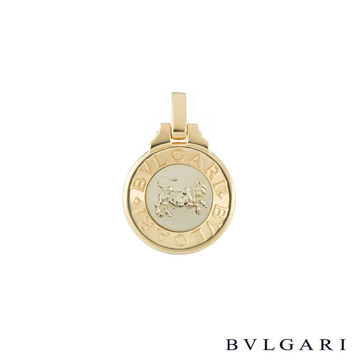 Bvlgari White and Yellow Gold Taurus Zodiac Pendant